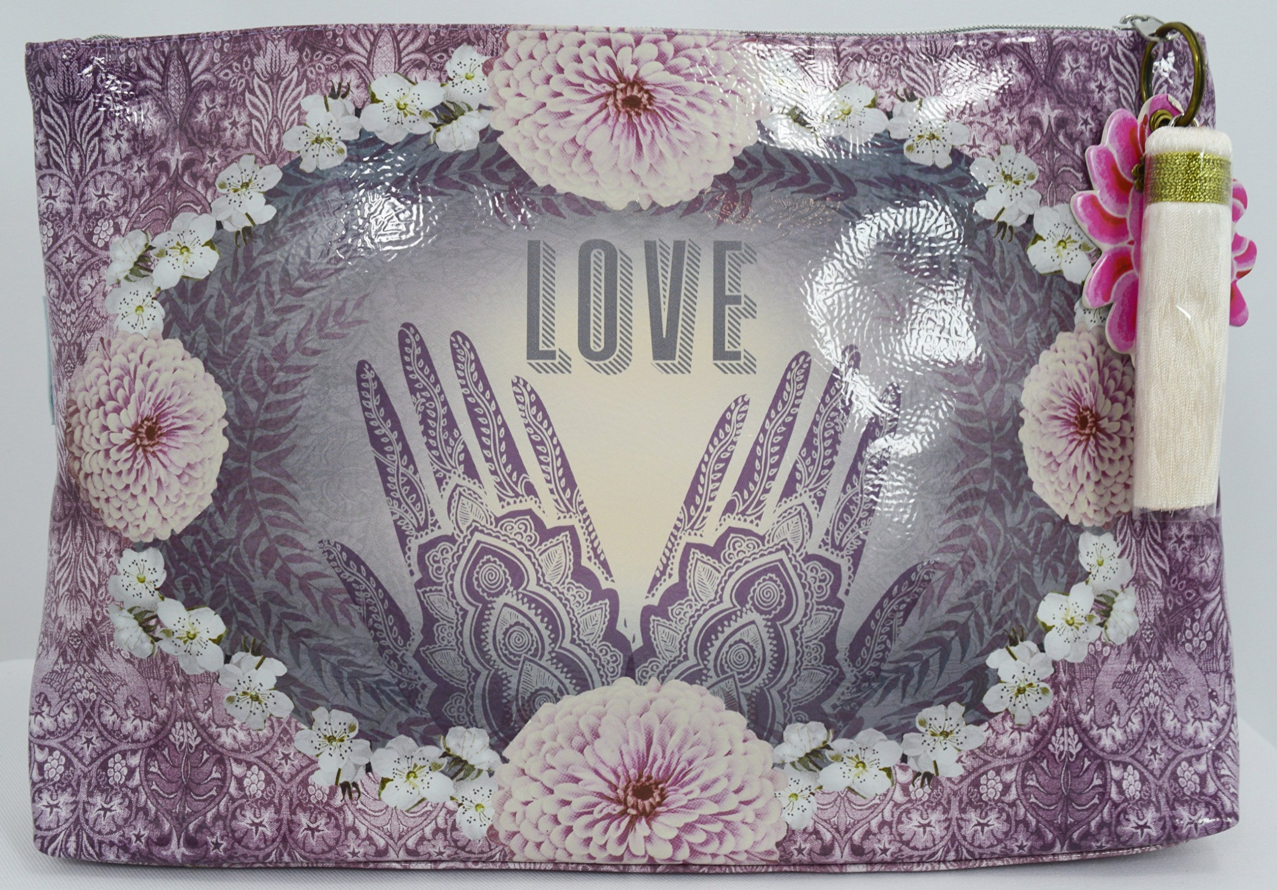 Love Henna Designs Oil Cloth Large Make-up or Accessory Travel Bag by Papaya (Image #5)