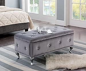 Kings Brand Furniture Gray Velvet Tufted Design Upholstered Storage Bench Ottoman