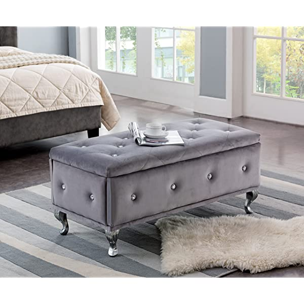 Kings Brand Furniture Gray Velvet Tufted Design Upholstered Storage Bench Ottoman