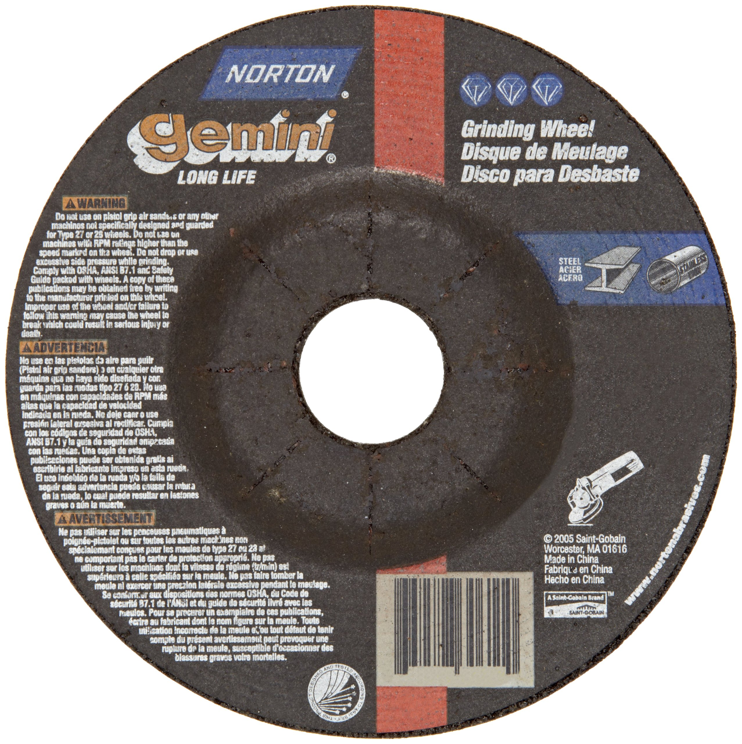 Norton Gemini Depressed Center Abrasive Wheel, Type 27, Aluminum Oxide, 7/8'' Arbor, 7'' Diameter x 1/4'' Thickness, Grit 24 (Pack of 1)