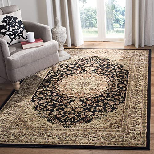 Safavieh Lyndhurst Collection LNH222A Traditional Oriental Medallion Black and Ivory Rectangle Area Rug 8 11 x 12