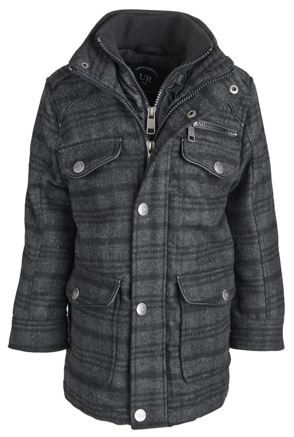 Urban Republic Little Boys Classic Wool Blend Padded Winter Jacket with Vestee