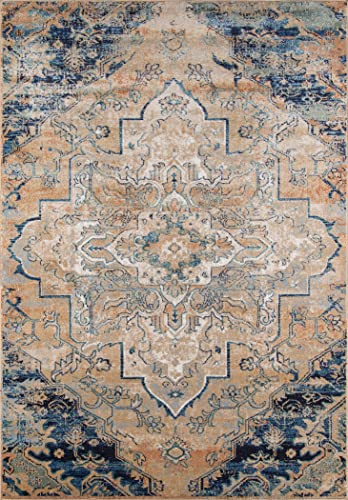 Momeni Rugs Amelia Collection Traditional Area Rug, 9 3 x 12 6 , Navy Blue
