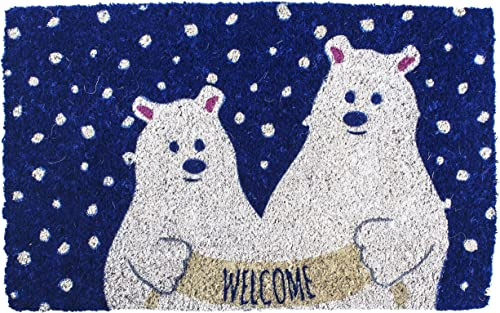 Entryways Polar Bears , Hand-Stenciled, All-Natural Coconut Fiber Coir Doormat 18 X 30 x .75