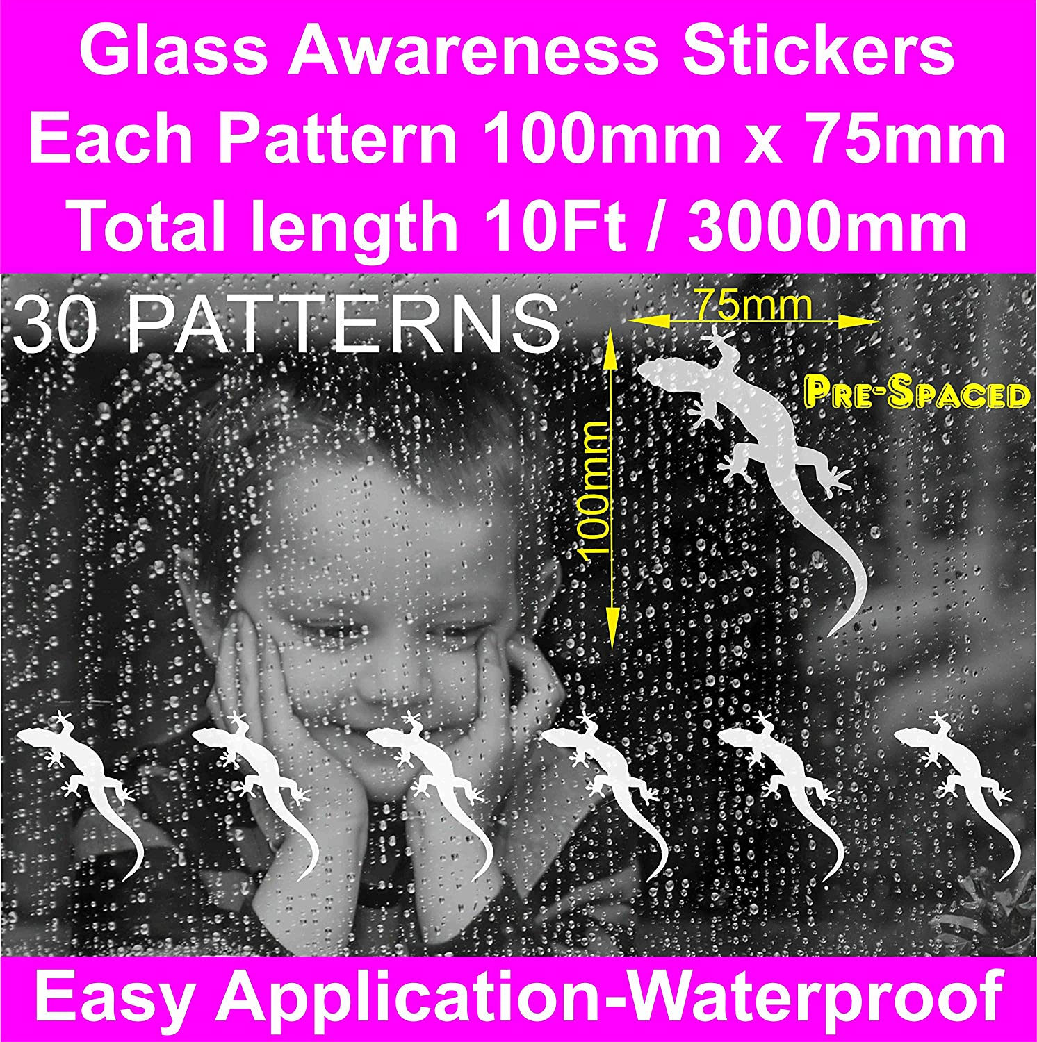 Amazon com 30 patterns 10ft 3000mm glass manifestation geckos lizards safety stickers etch effect window film pre spaced frosted glass stickers