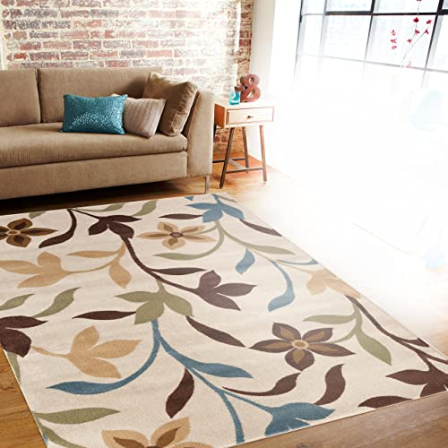 Modern Contemporary Leaves Design Cream Area Rug 3'3″ x 5'3″