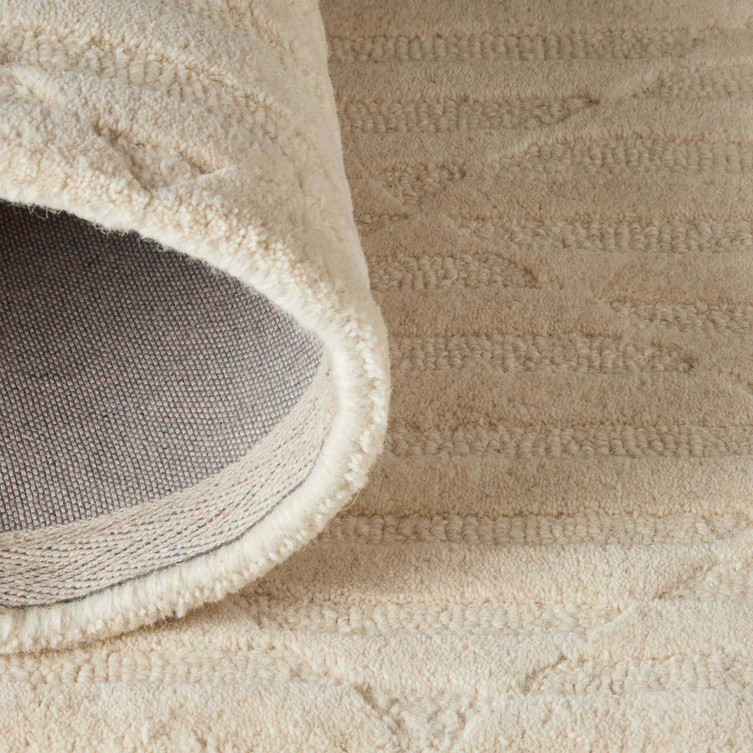 Rivet Geometric Criss-Cross Woven Wool Area Rug, 8' x 10', Cream by Rivet (Image #5)