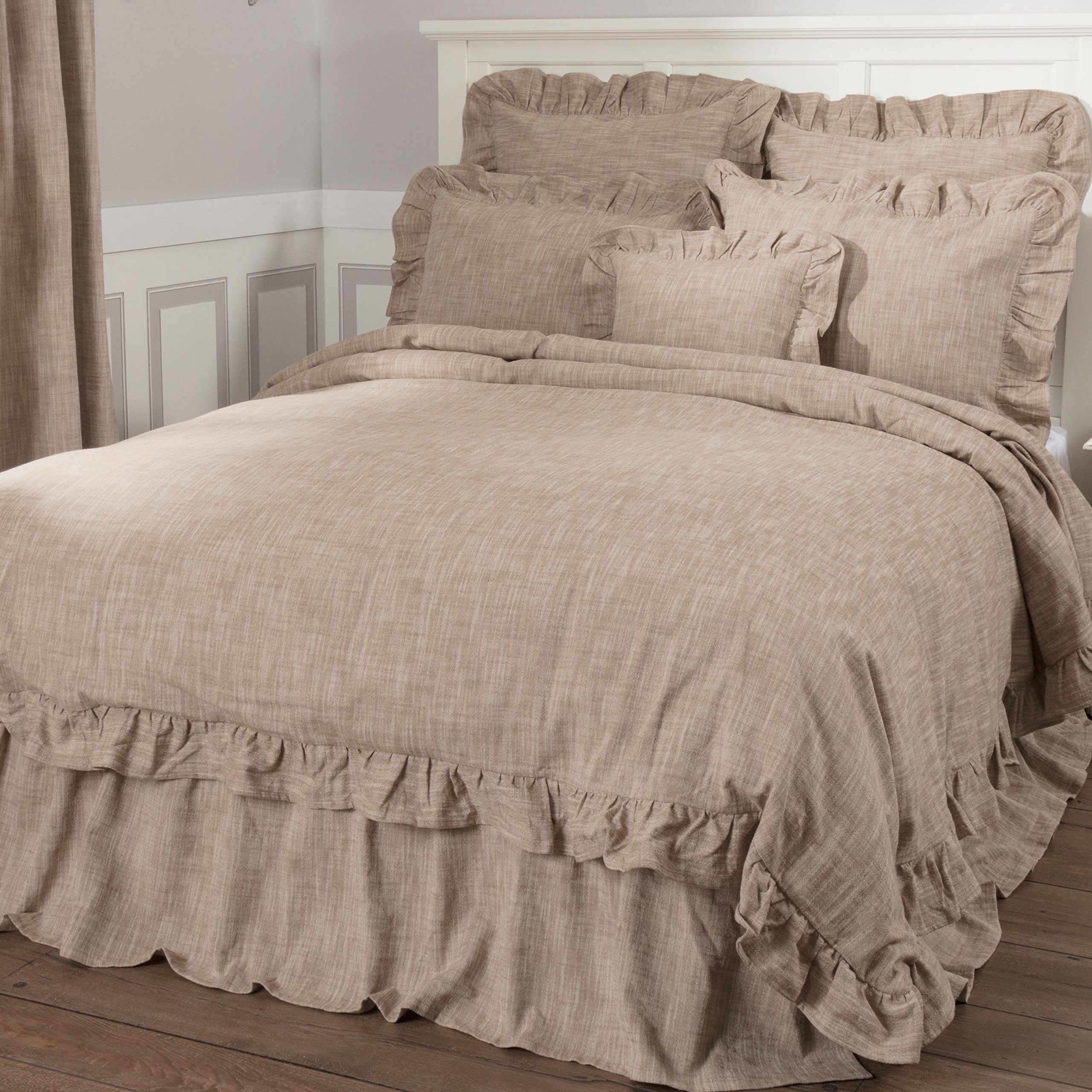 Ashley Taupe Ruffled Duvet Cover, King Size 92x108, Farmhouse Style Dark Beige Comforter Cover