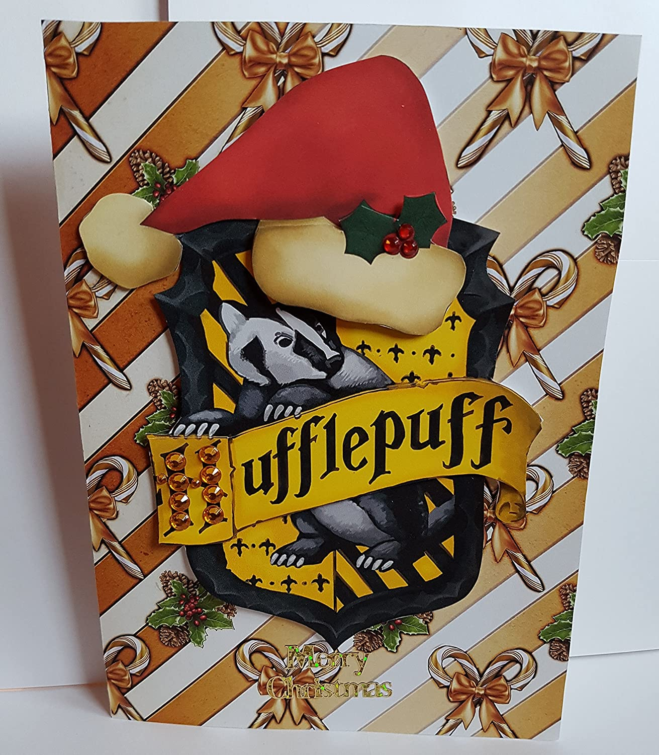 Handmade Harry Potter Inspired Christmas Card  - With House Crest Hufflepuff Kjs Handmade Cards