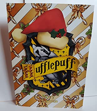 handmade harry potter inspired christmas card with house crest hufflepuff