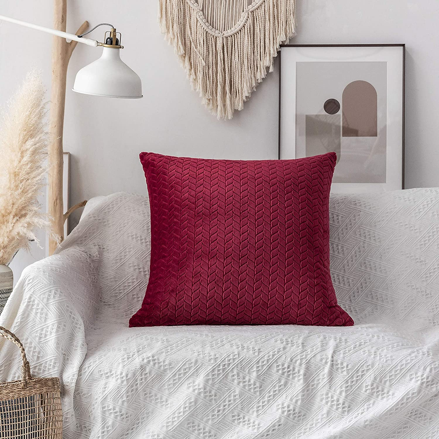 Amazon Com Ugasa Large Euro Throw Pillow Cover Cable Knit Sweater 100 Flannel Decorative Square Cushion Pillowcases 1 Pack 24 X24 Burgundy Home Kitchen