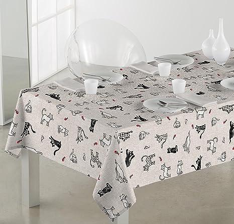 Sabanalia - Mantel de tela antimanchas Cats (disponible en varias medidas) - 140 x 200