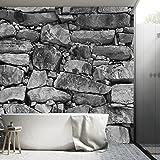 Fotomurales ,,Black & White Stonewall 103' 366 x 254 piedra muro alquería naturaleza blanco y negro Papel Pintado Fotomural