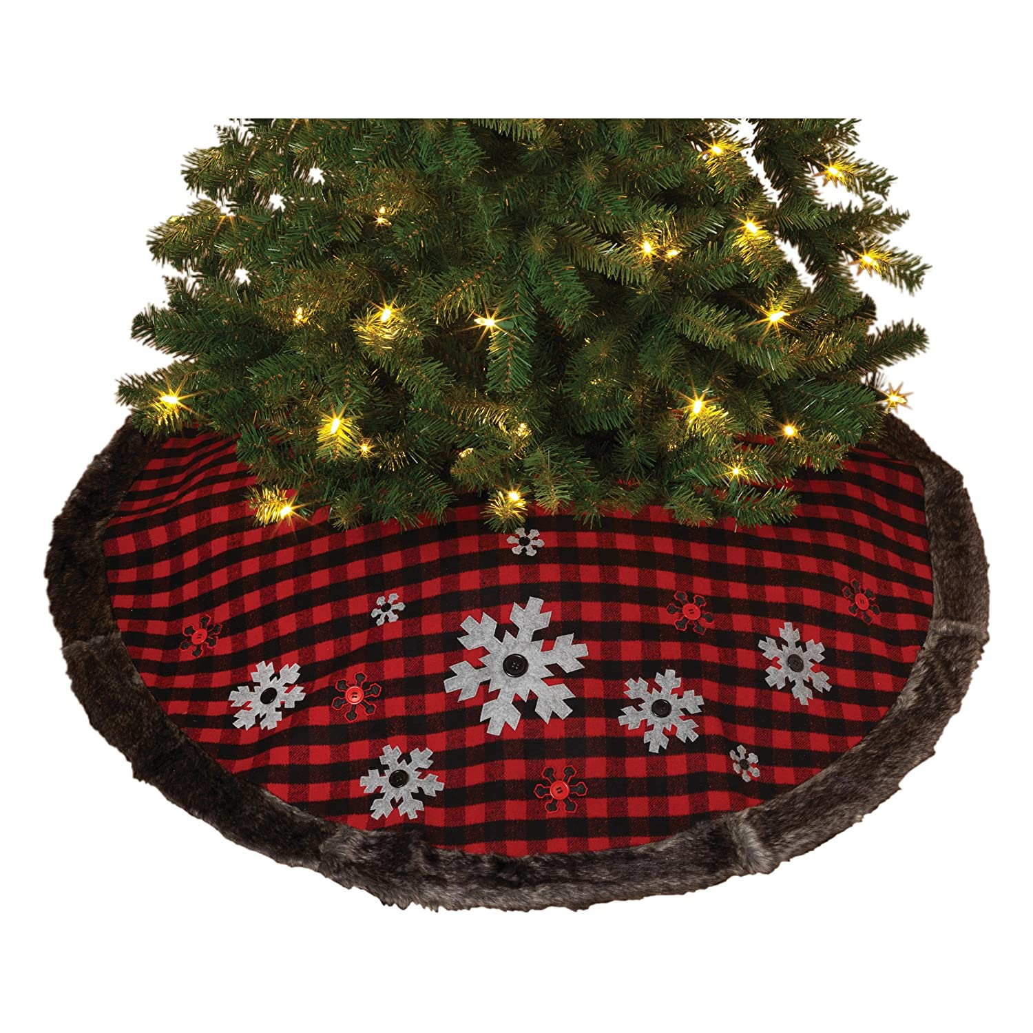 Multicolor 12InL x 2InW x 27.5InH GIL 48D Plaid Tree Skirt w//Faux Christmas