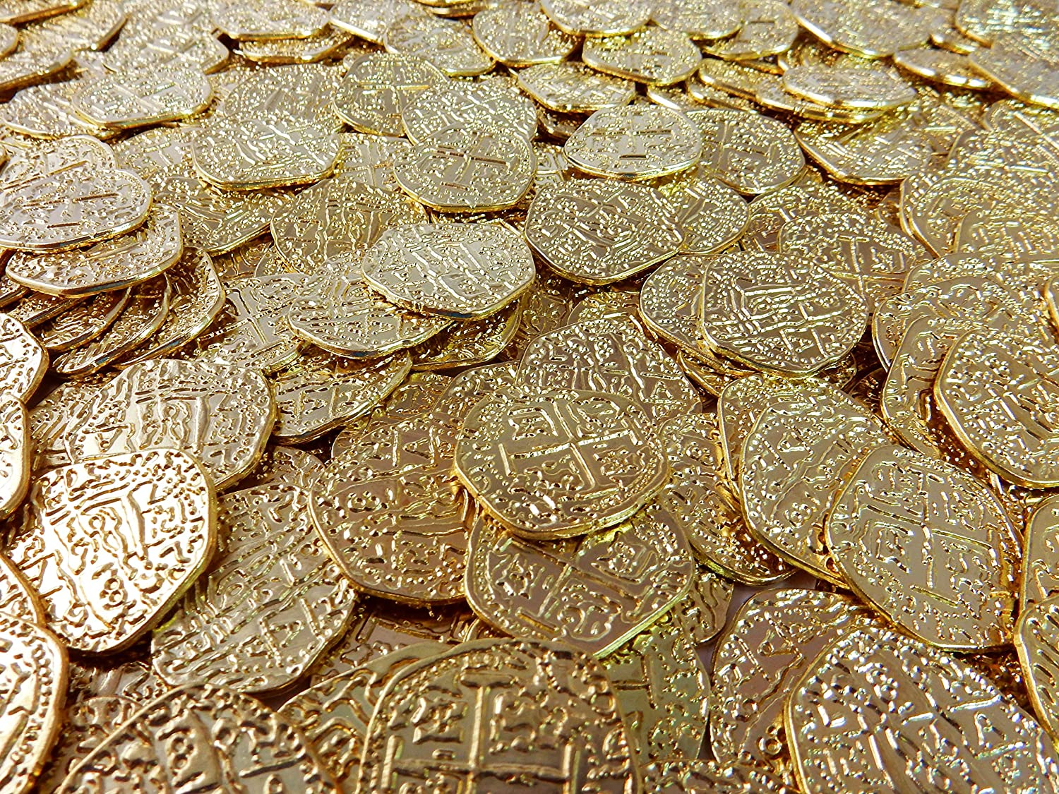 Lot of 50 Shiny Metal Gold Pirate Treasure Coins USA