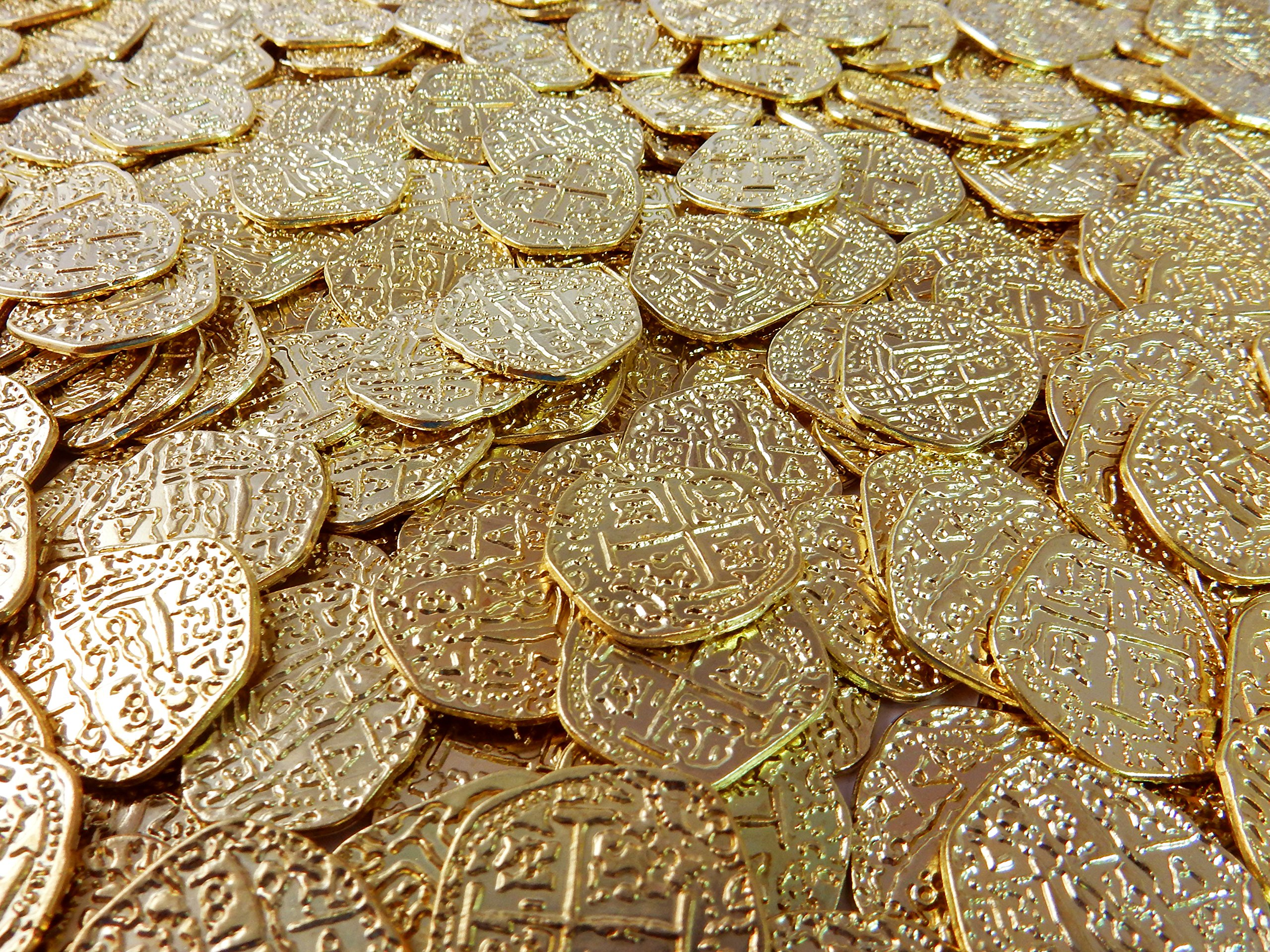 Beverly Oaks Metal Pirate Coins - 50 Gold Spanish Doubloon Replicas -  Fantasy Metal Coin Pirate Treasure