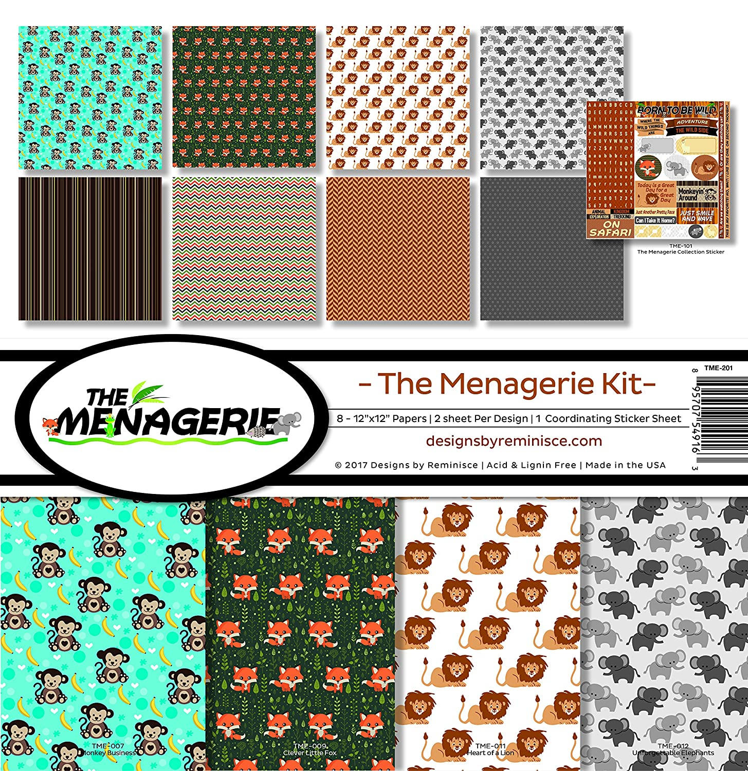 Reminisce Menagerie Scrapbook Collection Kit 2