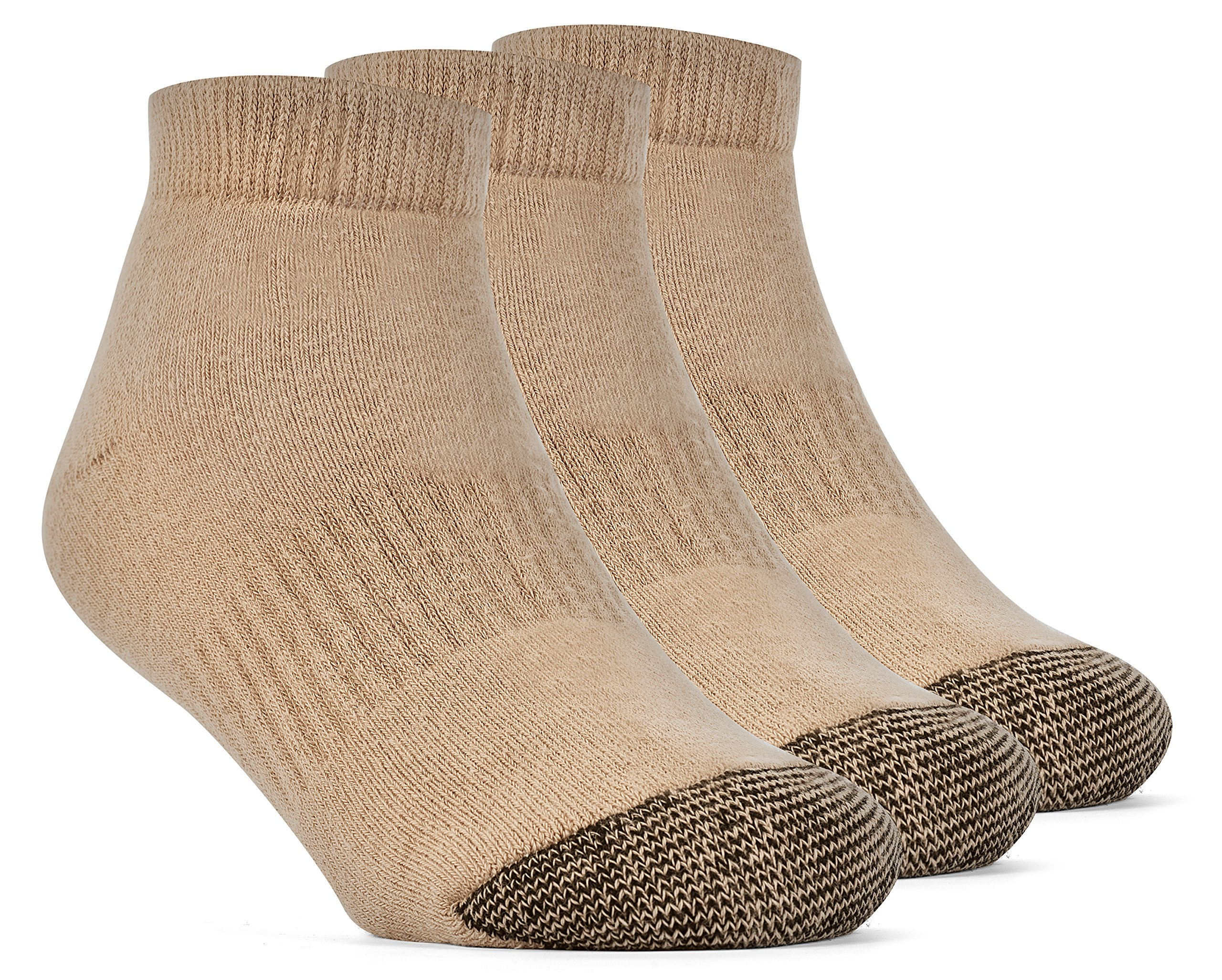 YolBer Boys' Cotton Super Soft Low Cut Cushion Socks - 3 Pairs, Large, Nude Beige by YolBer