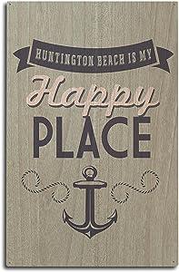 Lantern Press California - Huntington Beach is My Happy Place (10x15 Wood Wall Sign, Wall Decor Ready to Hang)