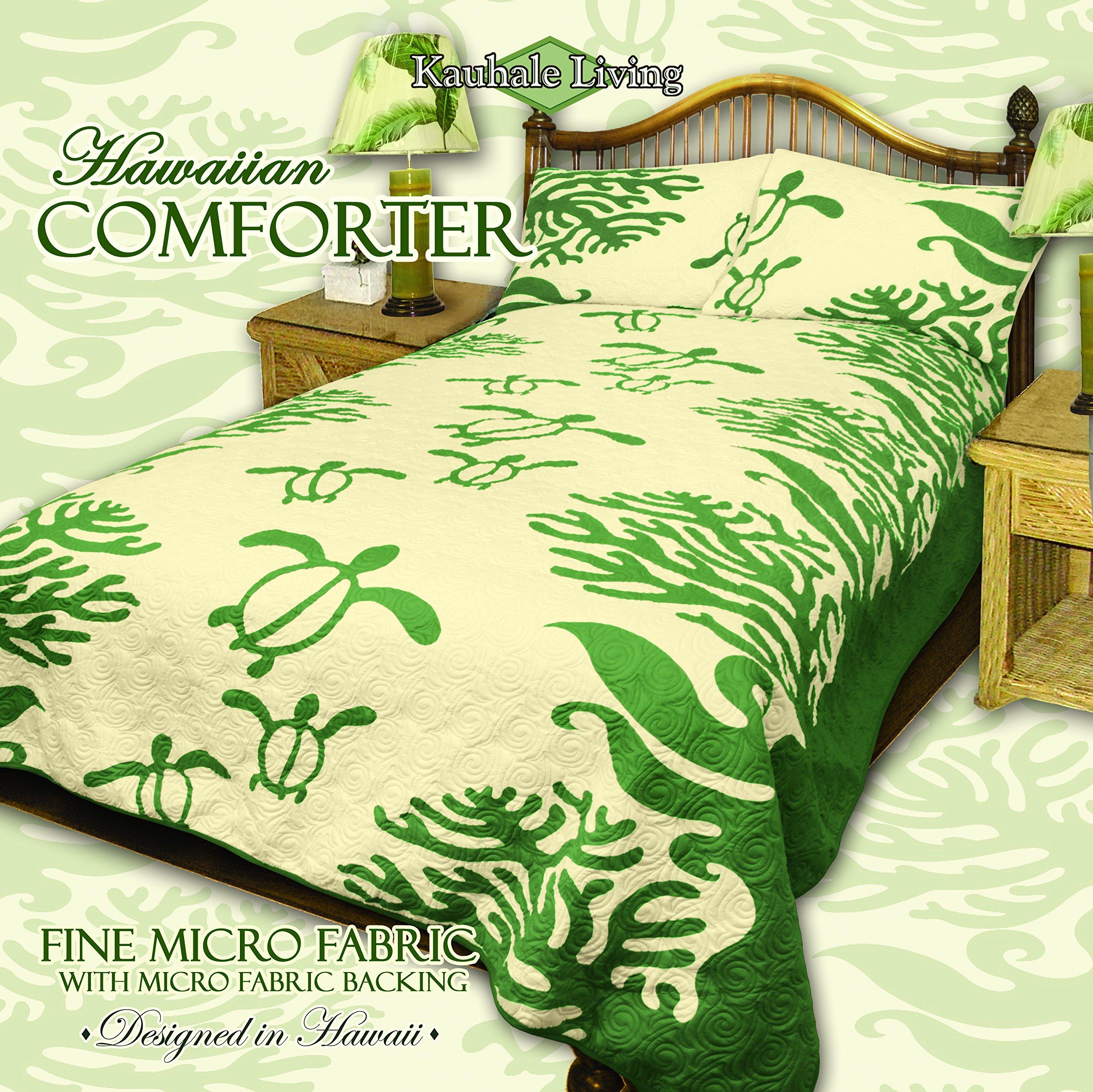 King Hawaiian Quilt bedding Comforter with two pillow shams (Honu Sea Turtle) (Sage Green)