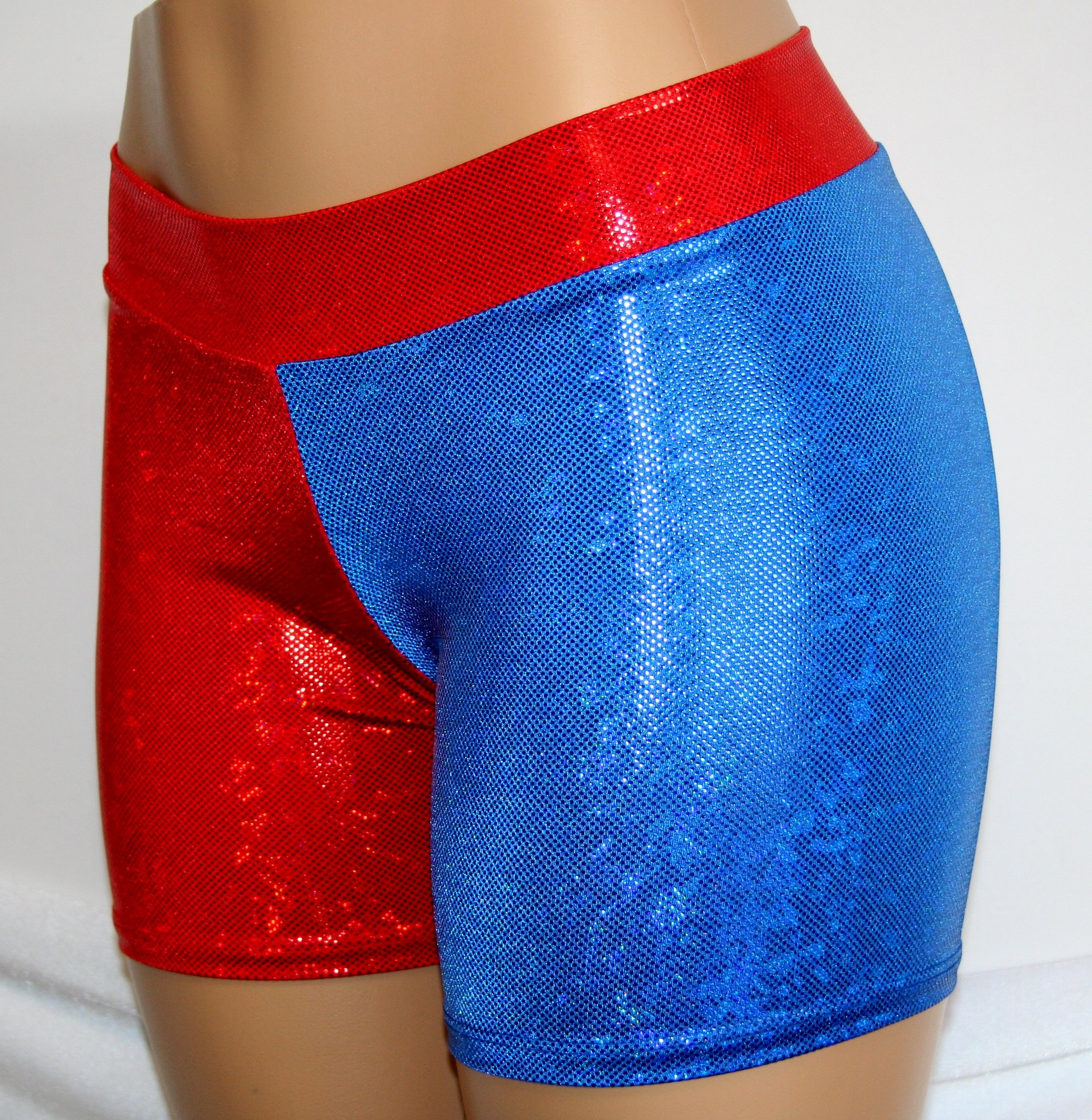 Dilly Duds Children's Red and Blue Holographic Spandex Shorts (X-Small, Red Blue) by Dilly Duds (Image #5)