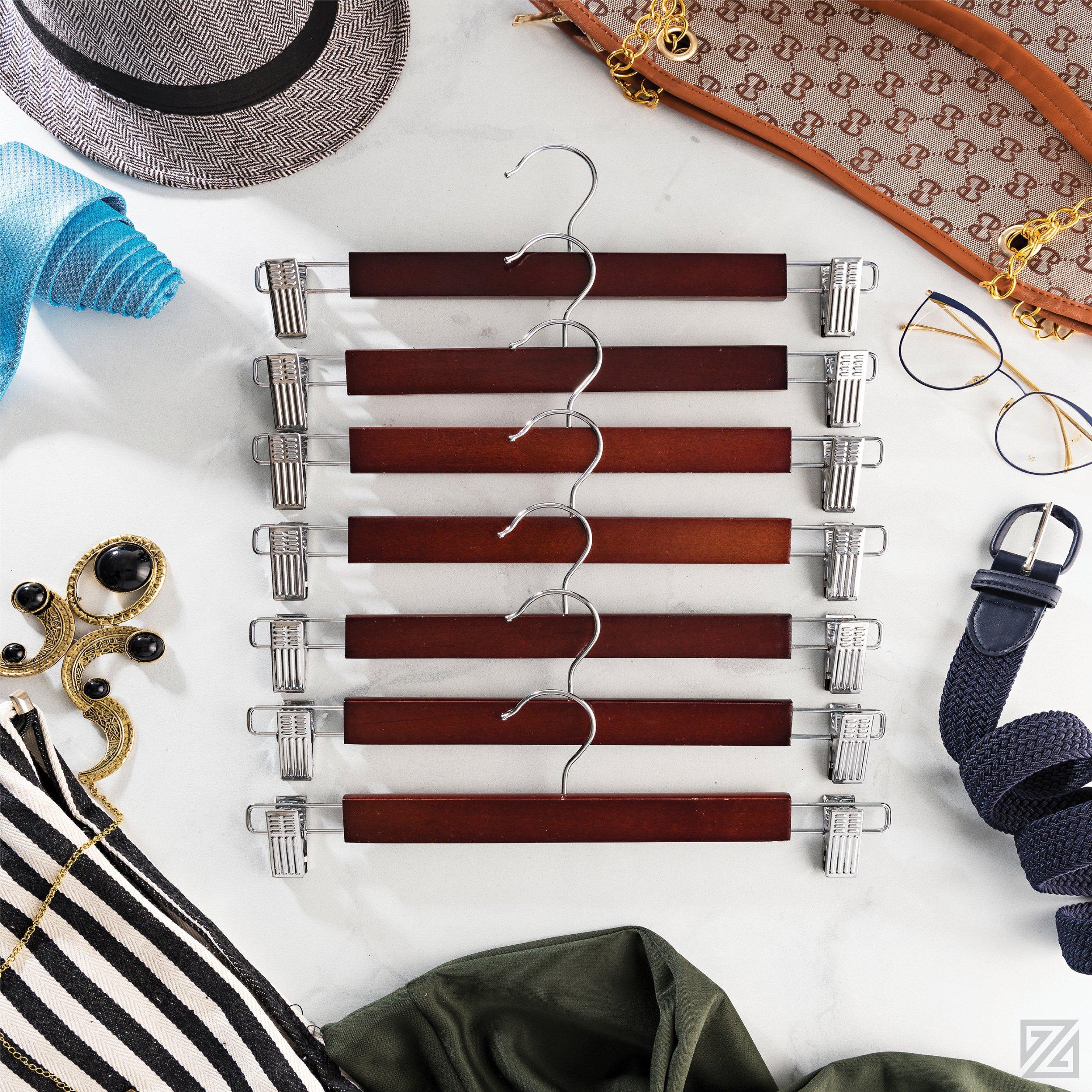 Zober Premium Wooden Skirt Hangers with Adjustable Clips (Pack of 10) Non-Slip Trouser Hanger Cherry Lotus Wood Pants hangers, 360 Degree Swivel Hook, for Skirts, Jeans, Slacks, Pants, 13'' Wide by ZOBER (Image #6)