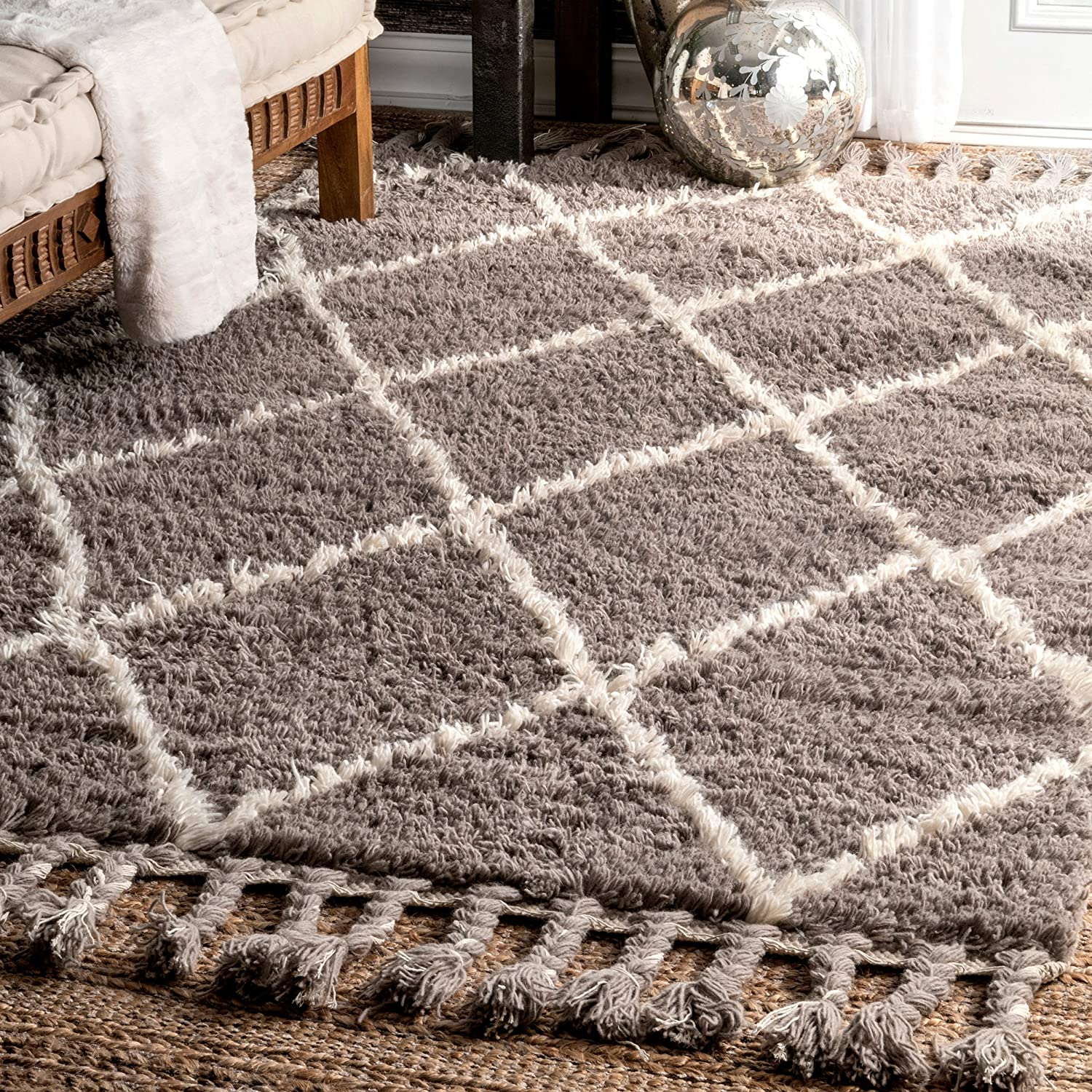 nuLOOM 200SPRE14A-2806 Hand-Knotted Moroccan Trellis Natural Shag Wool Runner (2-Feet 8 X 6-Feet)