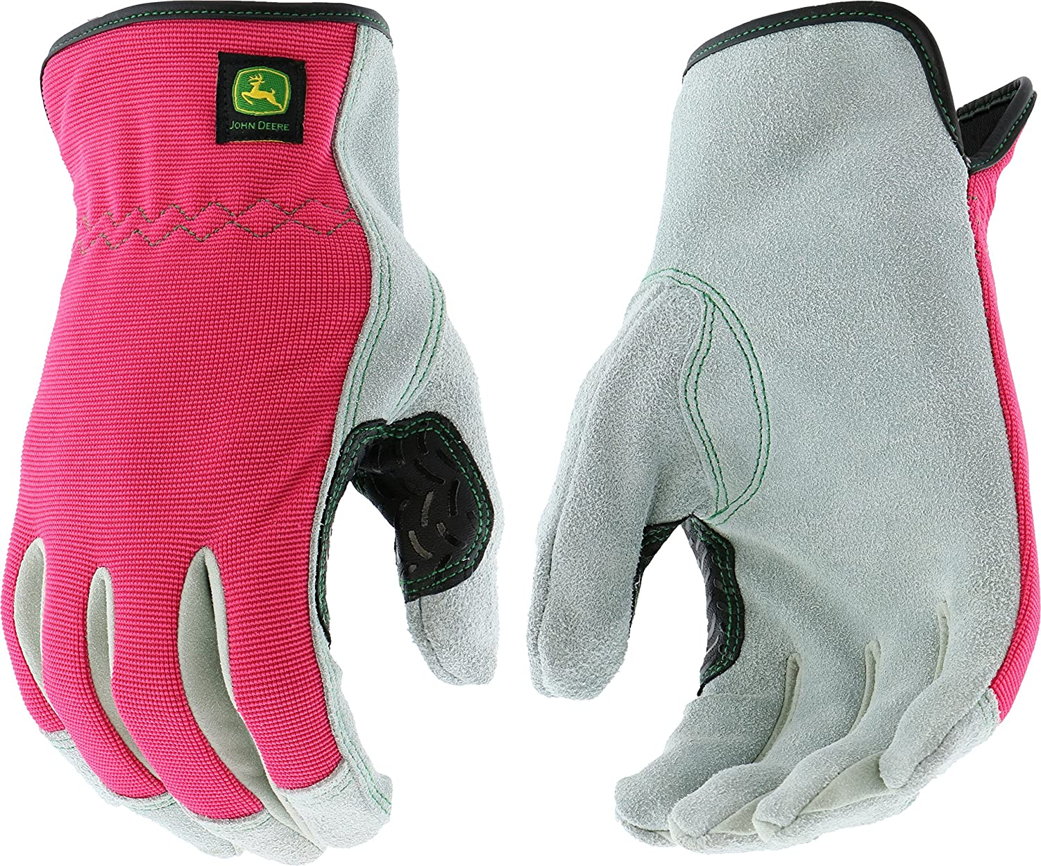 West Chester John Deere JD00016 Split Cowhide Leather Palm Work Gloves: Pink, Women's Small/Medium, 1 Pair