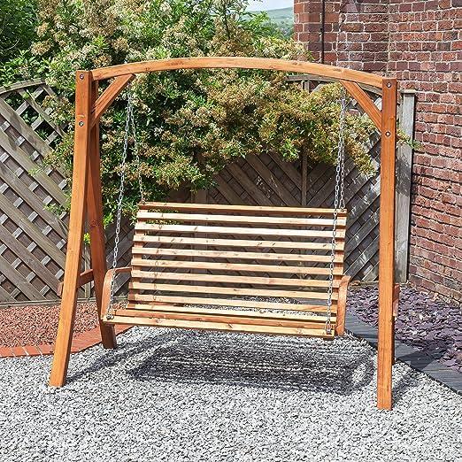 Diseño cilíndrico de jardín doble de madera 2 plazas silla columpio para hamaca: Amazon.es: Jardín