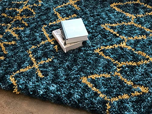 Well Woven Nomad Parley Modern Moroccan Trellis Blue Soft Fluffly Shag Area Rug 7 10 x 9 10