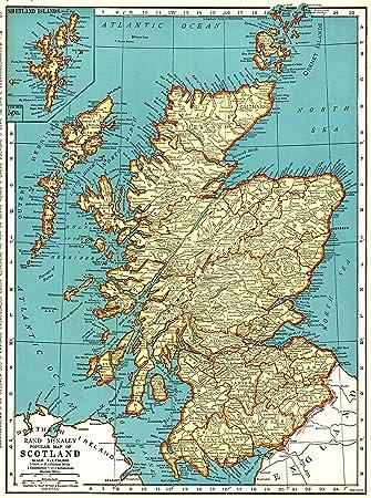Amazon De 1945 Antik Schottland Karte Original Vintage Map Of