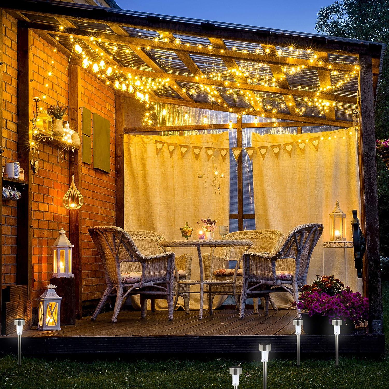 Relaxdays Set de 10 lámparas solares, LED impermeables ...