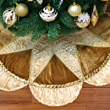 "Valery Madelyn Luxury Collection Gold Beaded Christmas Tree Skirt with Ruffled Satin Border - 36""/91cm, Themed with Ornaments (Not Included)"
