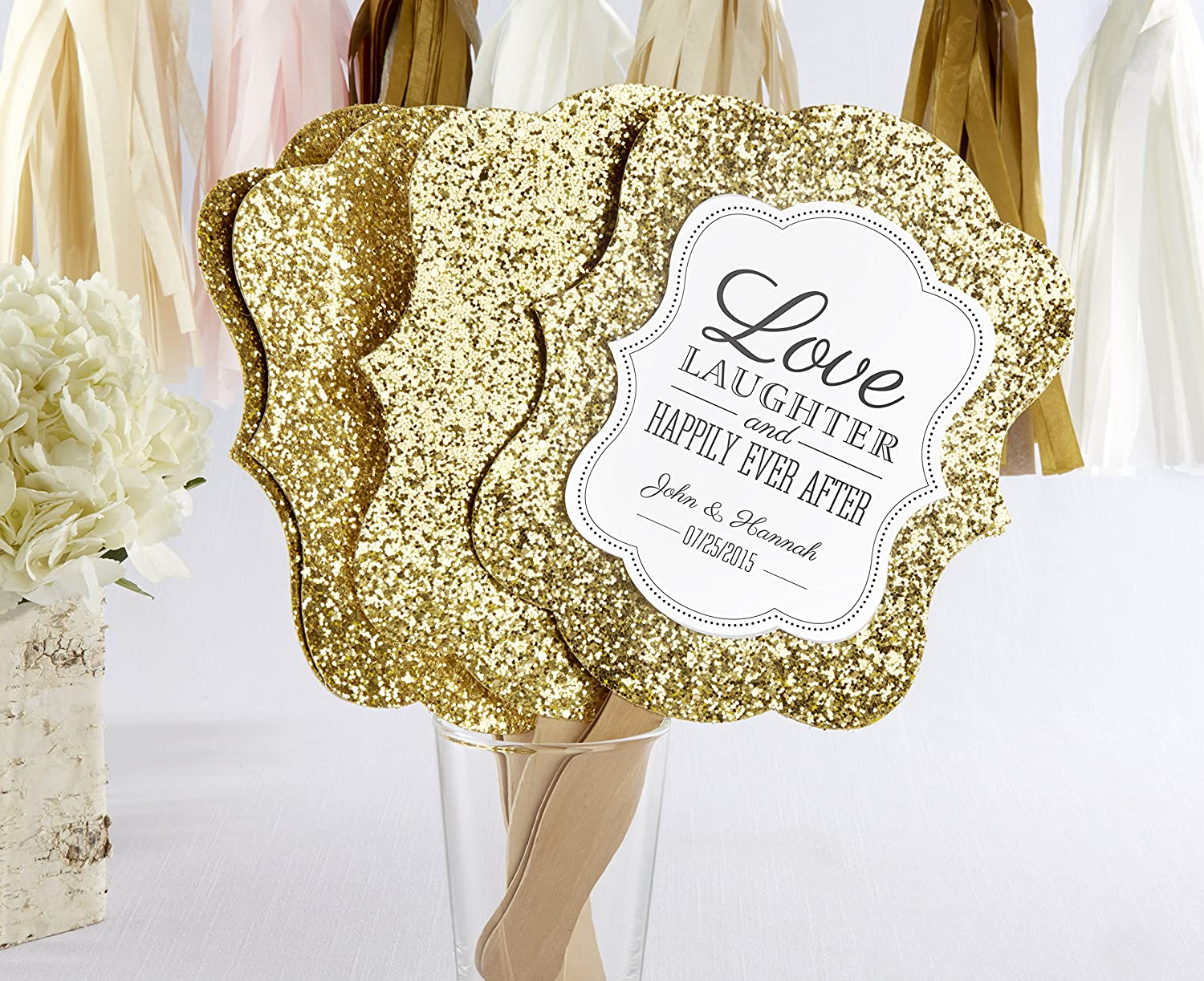 Amazon.com: Kate Aspen Gold Glitter Hand Fan (Set of 12): Kitchen ...