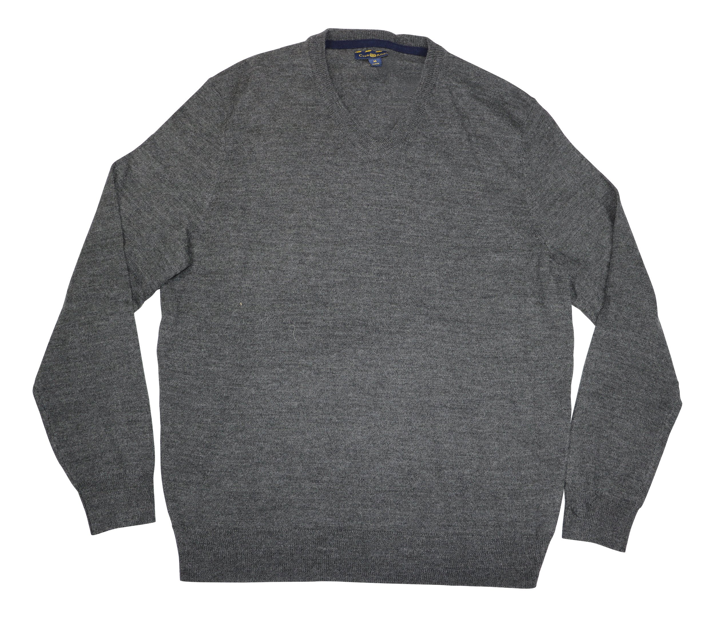 Club Room Mens Wool Blend V-Neck Pullover Sweater Gray M