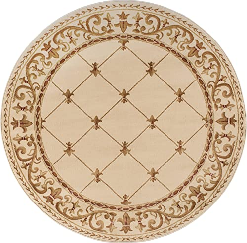 Orleans Traditional Border Ivory Round Area Rug, 8 Round