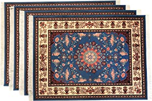 Inusitus Oriental Rug Place Mats – Set of 4 Table Mats with Fringes - Miniature Carpet Design Table Setting placemats - Stunning Dining Table Décor for Home, Kitchen & Bars (Blue)