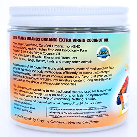 Coconut Oil for Pets - Best Premium Quality, 100% Pure,Organic, Raw, Oil  for Dogs Coats,