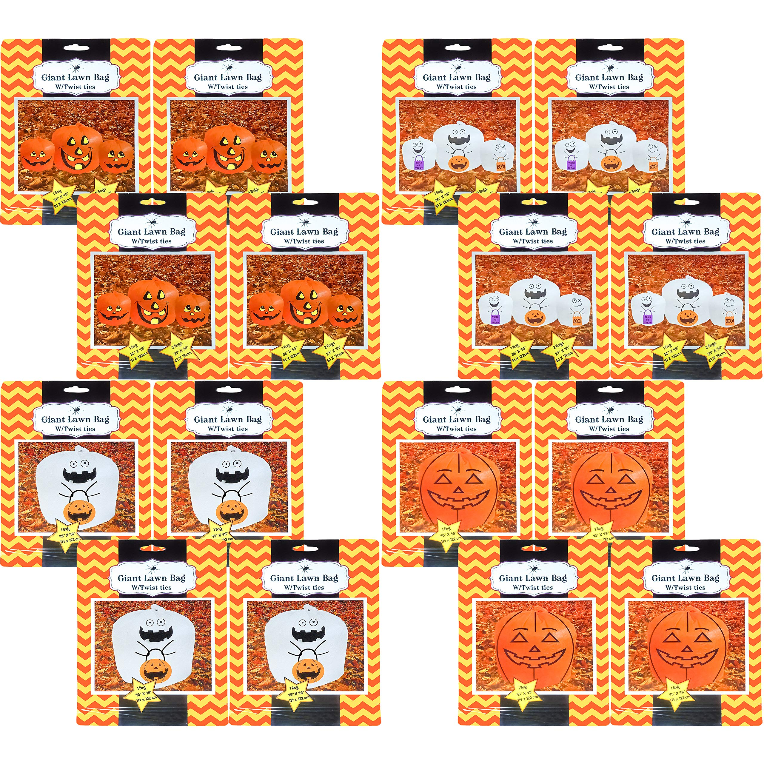 Black Duck Brand Halloween Decorative Giant Lawn Bags with Twist Ties (Pumpkin & Ghost) (16 Bags) by Black Duck Brand
