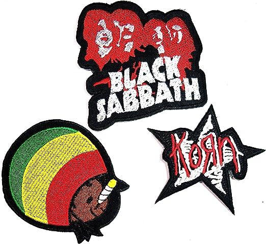 Set 3 pcs parche Bob Marley negro Sabbath Korn Rock banda parche ...