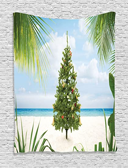 Island Christmas Theme.Amazon Com Ambesonne Christmas Tapestry Tree With Tinsel