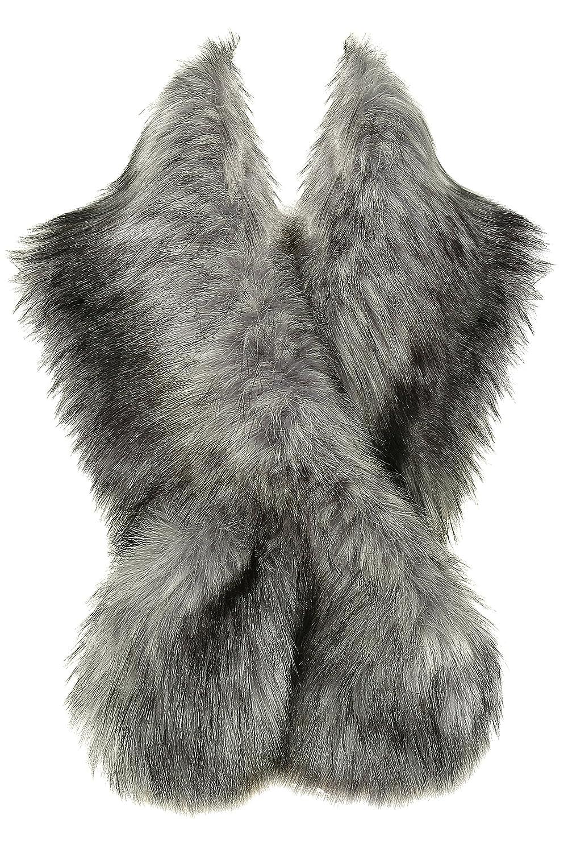 BABEYOND Womens Faux Fur Collar Shawl Faux Fur Scarf Wrap Evening Cape for Winter Coat 47.2