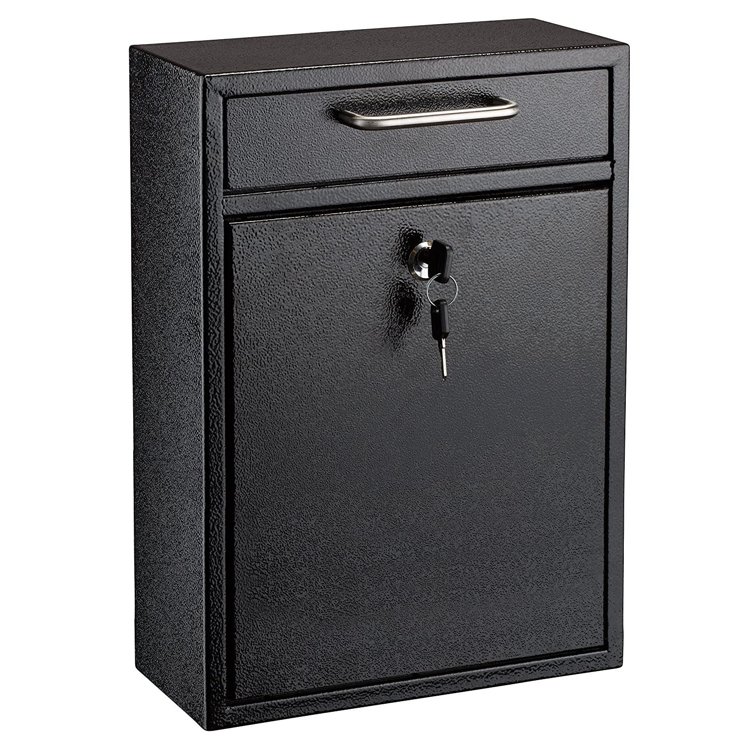 Adiroffice Locking Black Large Drop Box Wall Mounted