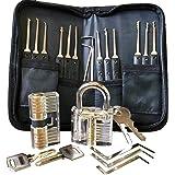 Lockpicking Set I 22 – teiliges Dietrich Set inklusive 2 durchsichtigen Übungsschlössern I perfekt geeignet für Anfänger sowie Profis und Schlosser