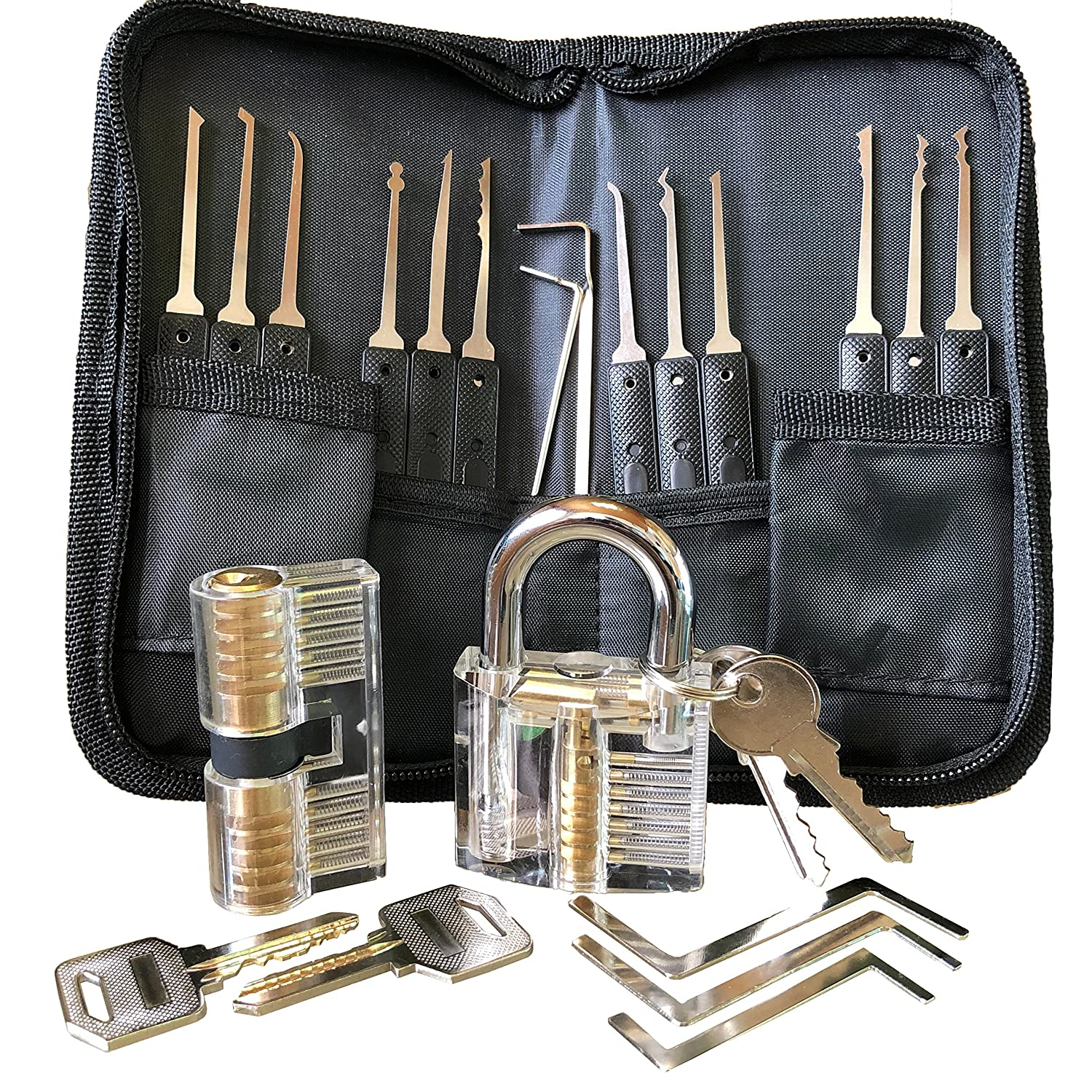 Premium Lockpicking Set Lock Pick Tools 22-Piece Kit Two Clear Locks In 2 Difficulties For Practice Training And Professional Locksmiths SecPack