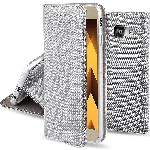 43 opinioni per Cover Samsung Galaxy A3 2017 Argento- Custodia a libro Flip Smart magnetica de