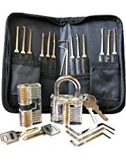 Premium Lockpicking Set Lock Pick Tools 25-Piece Kit 2 Clear Locks In 2 Difficulties For Practice Training And Professional Locksmiths