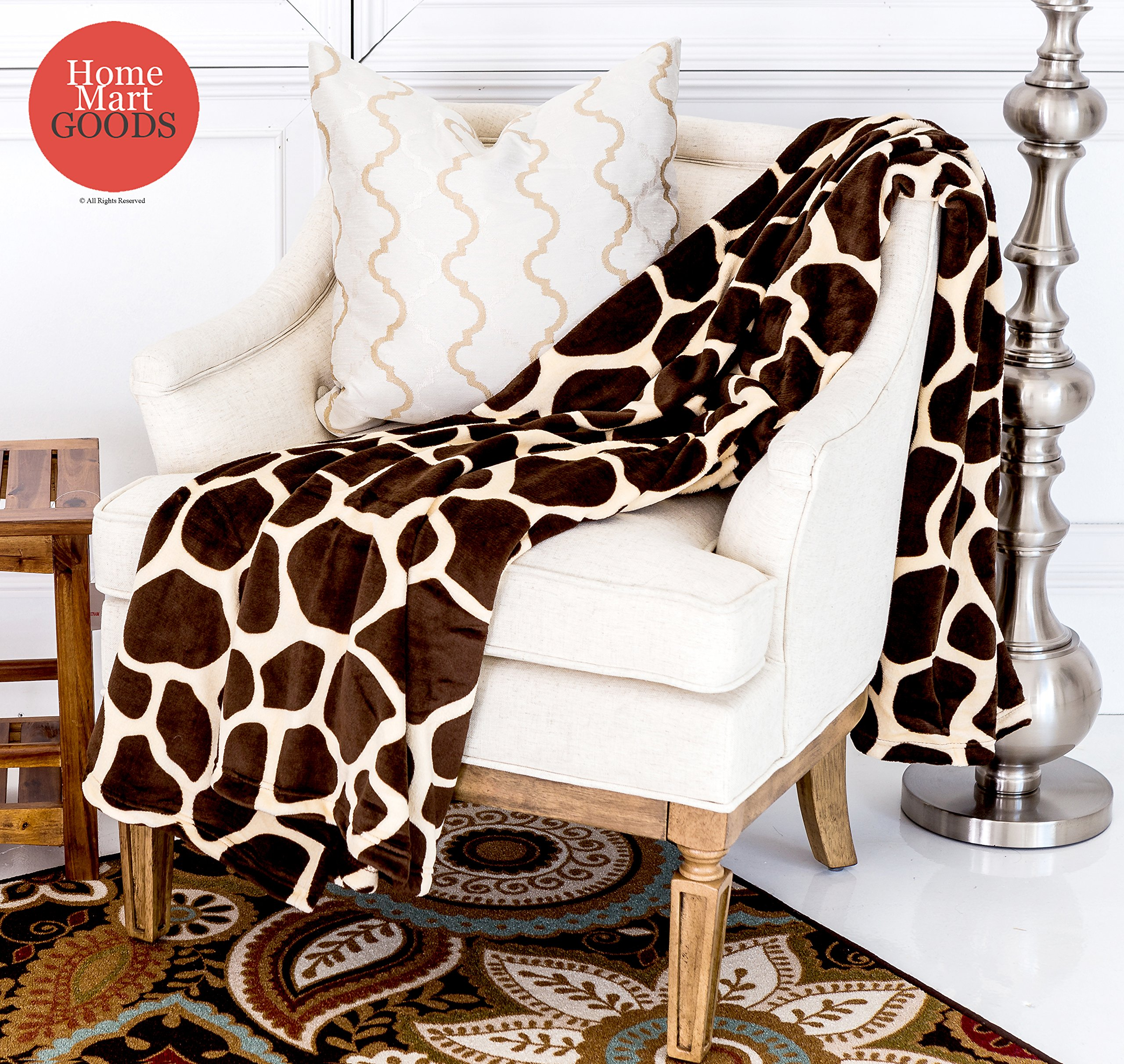 "Home Must Haves Ultra Soft Micro Plush Flannel Blanket Luxurious Flannel Fur All Season Premium Bed Blanket (Queen 80""x80"", Giraffe Skin Print) - Super Soft Flannel Fabric! SIZES: This modern Super Soft Warm Bed Blanket is Queen size. 80""x80"" MATERIAL: 100% Polyester microfiber, providing comfort and softness to the touch. - blankets-throws, bedroom-sheets-comforters, bedroom - A1D  Hy1T4L -"
