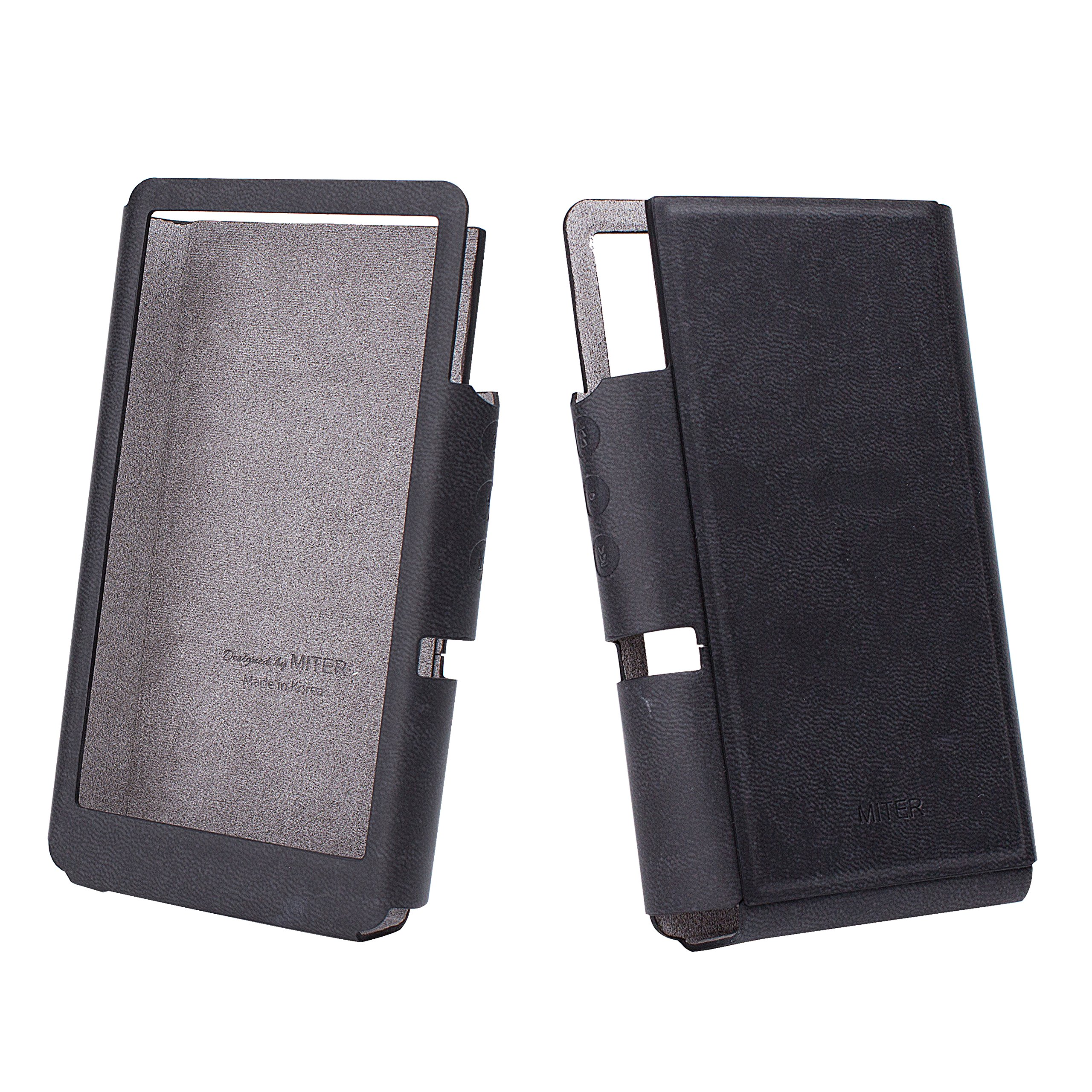 for iBasso DX150 and iBasso DX200 , Hand Crafted Miter PU Leather Case Cover [Non Standing Edition] iBasso DX150 Case (Light Black)