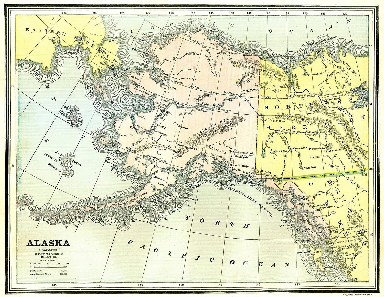 photo relating to Printable Map of Alaska named : Aged Country Map - Alaska - Cram 1886 - 23 x 29.67